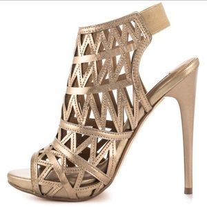 Steve Madden golden caged heels